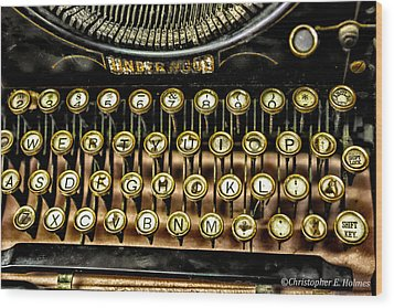 Antique Keyboard Wood Print by Christopher Holmes