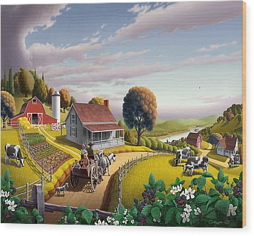 Appalachian Blackberry Patch Rustic Country Farm Folk Art Landscape - Rural Americana - Peaceful Wood Print by Walt Curlee