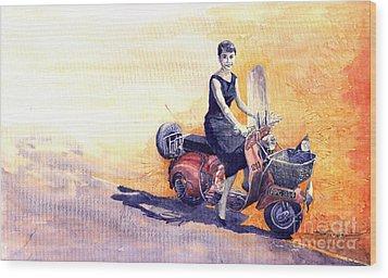 Audrey Hepburn And Vespa In Roma Holidey  Wood Print by Yuriy  Shevchuk