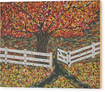 Autumn At The White Fence Farm Wood Print by Jeffrey Koss