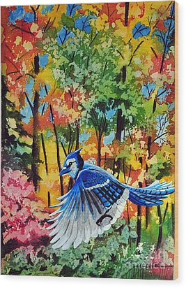 Autumn Blue Jay Wood Print