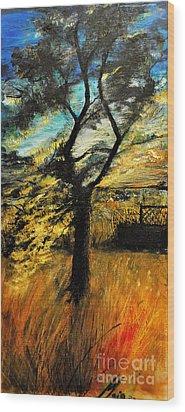 Wood Print featuring the painting  Autumn Tree by Maja Sokolowska