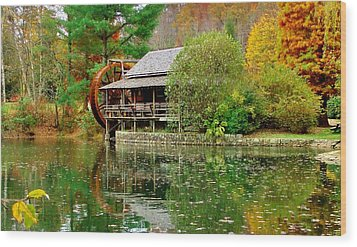 Autumn's Reflection Wood Print by Hominy Valley Photography