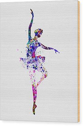 Ballerina Dancing Watercolor 2 Wood Print by Naxart Studio