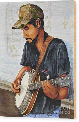 Banjo Player Wood Print by John W Walker