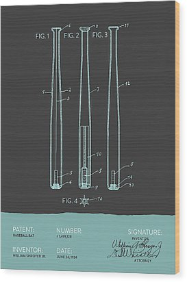 Baseball Bat Patent From 1924 - Gray Blue Wood Print by Aged Pixel