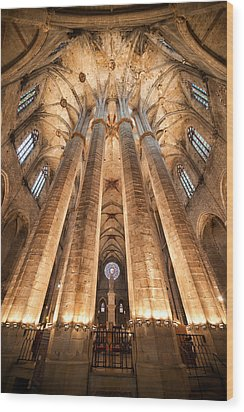 Basilica Of Santa Maria Del Mar In Barcelona Wood Print