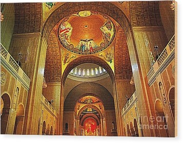 Wood Print featuring the photograph  Basilica Of The National Shrine Of The Immaculate Conception by John S