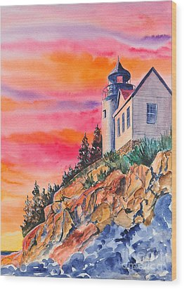 Bass Harbor Light Sunset Wood Print