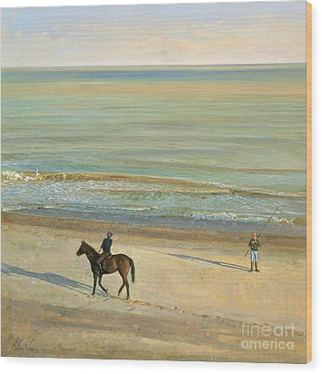 Beach Dialogue Dunwich Wood Print by Timothy  Easton