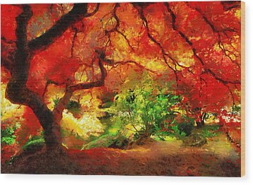 Wood Print featuring the painting  Beautiful Autumn by Georgi Dimitrov