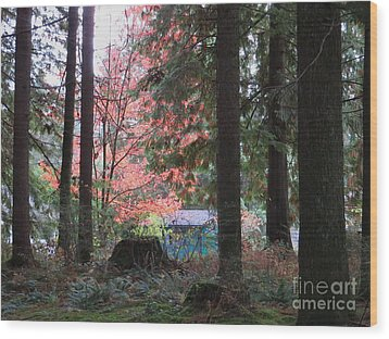 Beauty Through The Trees Wood Print by Joyce Gebauer