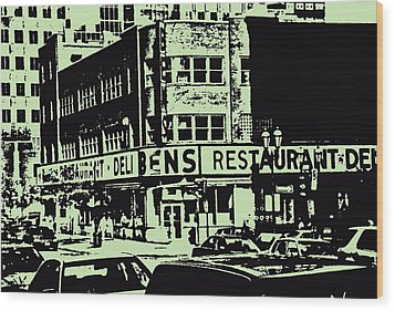 Ben's Resto Delicatessan Lunchtime Crowds And Traffic Jams Vintage Montreal Memorabilia Wood Print by Carole Spandau