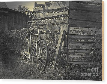 Wood Print featuring the pyrography  Bicycle by Evgeniy Lankin