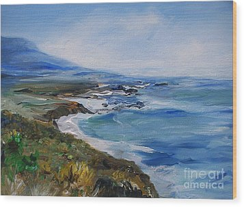Wood Print featuring the painting  Big Sur Coastline by Eric  Schiabor
