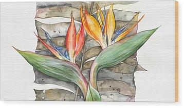 Bird Of Paradise 04 Elena Yakubovich Wood Print by Elena Yakubovich