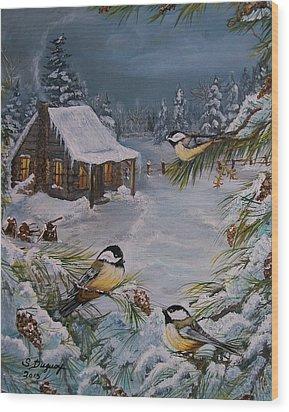 Black Capped   Chickadee's  Wood Print