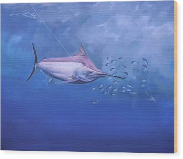 Wood Print featuring the painting  Black Marlin by Noe Peralez