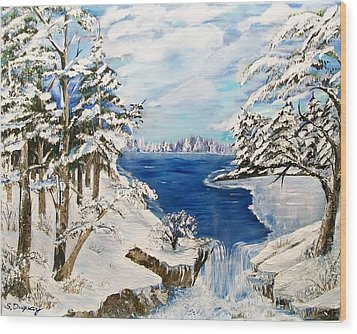 Wood Print featuring the painting  Blanket Of Ice by Sharon Duguay