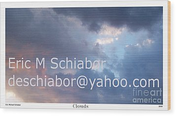 Blue And Purple Parting Clouds Print Wood Print by Eric  Schiabor