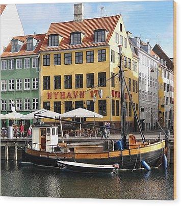 Boat In Nyhavn Wood Print
