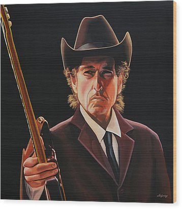 Bob Dylan Painting 2 Wood Print by Paul Meijering