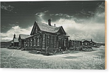 Bodie Ghost Town Panorama 02 Wood Print by Gregory Dyer