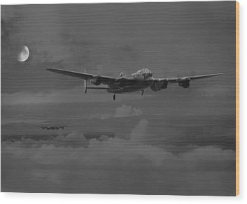 Bomber's Moon Wood Print by Pat Speirs