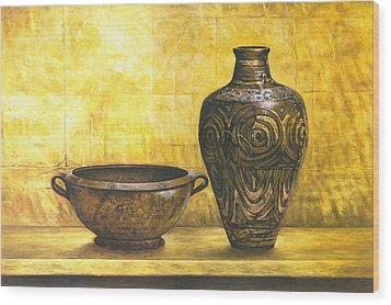 Bowl And Flower Pot Canvas Prints Wood Print by Canvas Champ