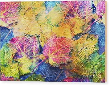 Bright- Colorful Fall Leave Abstract Wood Print by Judy Palkimas