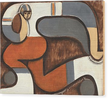 Broncos Abstract Football Player Wood Print by Tommervik