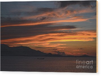 Wood Print featuring the photograph  Burning Sky by Michelle Meenawong