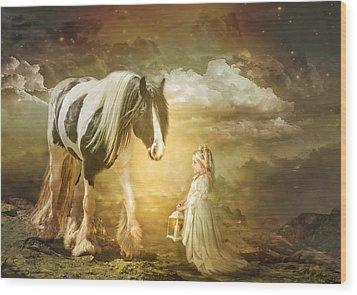 By Lantern Light Wood Print by Trudi Simmonds