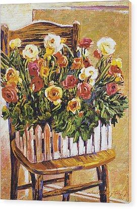 Chair Of Flowers Wood Print by David Lloyd Glover