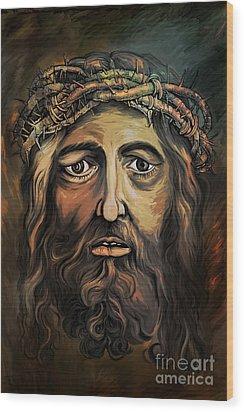 Christ With Thorn Crown. Wood Print by Andrzej Szczerski