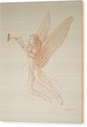 Angel With Trumpet Wood Print