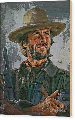 Clint Eastwood Wood Print by Andrzej Szczerski