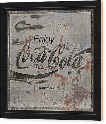 Coca Cola Sign Grungy Retro Style Wood Print by John Stephens