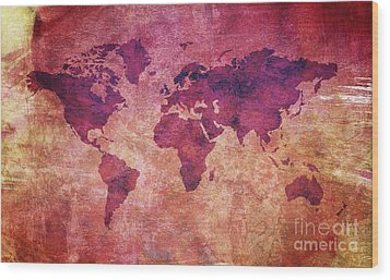 Wood Print featuring the digital art  Colorful World Map by Mohamed Elkhamisy