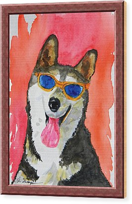 Cool Husky Wood Print