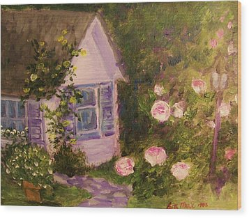 Cottage  In  The  Garden Wood Print