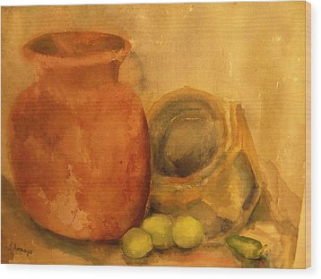 Crock  Pots Wood Print