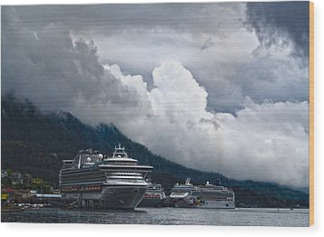 Wood Print featuring the photograph  Cruise Ships At The Dock. by Timothy Latta
