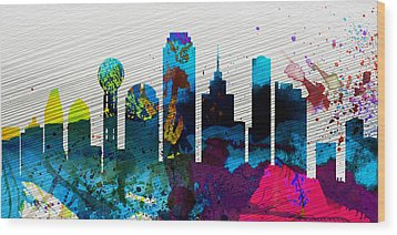 Dallas City Skyline Wood Print by Naxart Studio