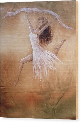 Dancer Leap In Double Attitude Wood Print