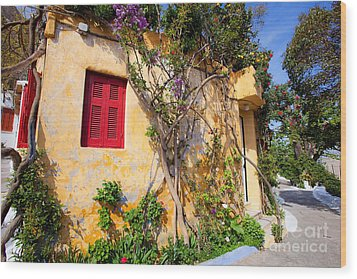 Decorated House With Plants Wood Print by Aiolos Greek Collections