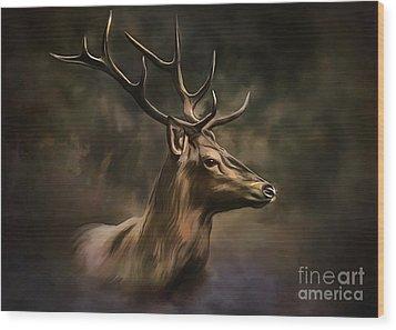 Deer Wood Print by Andrzej Szczerski
