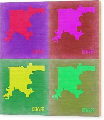 Denver Pop Art Map 2 Wood Print by Naxart Studio