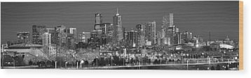 Wood Print featuring the photograph  Denver Skyline At Dusk Black And White Bw Evening Extra Wide Panorama Broncos  by Jon Holiday