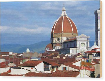 Wood Print featuring the photograph  Duomo Of Florence # 3 by Allen Beatty